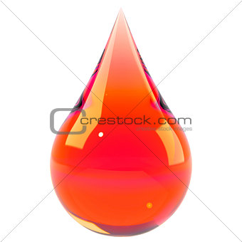 Blood drop isolated on white