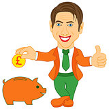 Man and orange piggy bank