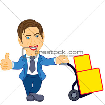 Man holds a cart with a load
