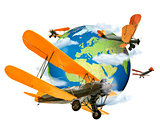 Biplanes flying around the Globe