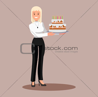 Business woman with a cake at work. Flat design.