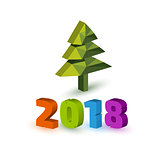 New Year 2018 banner with christmas tree