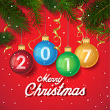 Merry Christmas 2017 decoration poster card. New Year background with tree branches, snowflakes. 2017 Year symbol