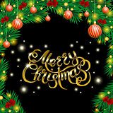 Golden text on black background. Merry Christmas and Happy New Year lettering.