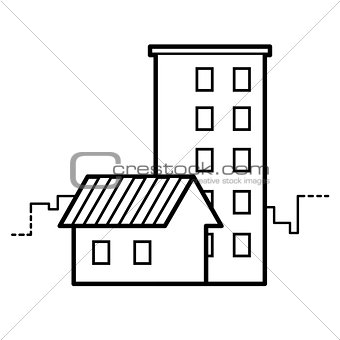 cottage and high-rise building line icon