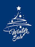 Inscription Winter Sale with Christmas tree