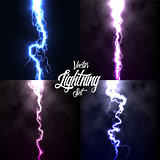 Lightning flash light thunder spark on black background with clouds set.Vector spark lightning or electricity blast storm or thunderbolt in sky.Natural phenomenon of human nerve or neural cells system