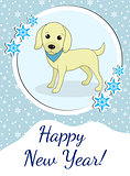 Happy new year greeting card with cute dog, puppy. Chinese New Year concept. Vector illustration.