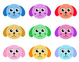 Collection of cute colorful puppy dog isolated on white background. Vector illustration.