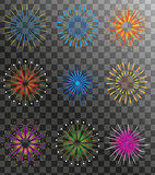 Realistic Fireworks set isolated on a transparent background. Holiday and party firework icons collection. Vector illustration.