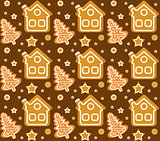 Christmas seamless pattern with gingerbread house and cookie. Cookies endless texture. Winter Holidays, wallpaper, background. Vector illustration.