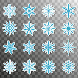 Stickers snowflake icon set isolated on a transparent background. Christmas winter patches badges. Vector illustration