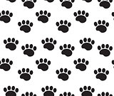 Animal tracks seamless pattern. Dog paws traces repeating texture, endless background. Vector illustration.
