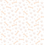 Dog bones seamless pattern. Bone and traces of puppy paws repetitive texture. Doggy endless background. Vector illustration.