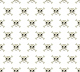 Skull and bones seamless pattern. Skeleton repeating texture. Skulls endless background. Halloween concept. Vector illustration.
