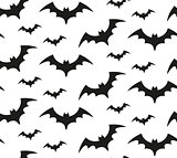 Bat silhouette seamless pattern. Halloween repeating texture. Scary endless background with flittermouse. Vector illustration.