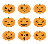 Halloween pumpkin icon set with emoji. Scary emoticons pumpkins collection. Isolated on white background. Vector illustration, clip-art.