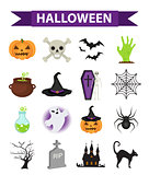 Happy Halloween icons set, flat style. Isolated on white background. Halloween collection of design elements with pumpkin, witch hat, spider, zombie, skull, coffin, bat. Vector illustration.