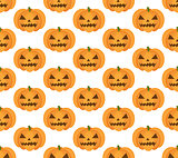 Halloween pumpkin seamless pattern. Scary repeating texture, endless background. Vetor illustration.