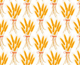 Wheat seamless pattern. Spikelets repeating texture, endless background. Vector illustration.