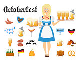 Smiling Bavarian woman blonde dressed in traditional costume and apron with beer glasses and set of Oktoberfest icons. Traditional symbols of autumn holiday of beer isolated on white background. Cartoon style vector illustration