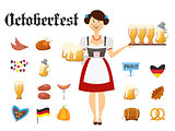 Smiling Bavarian woman brunette dressed in traditional costume and apron with beer glasses and set of Oktoberfest icons. Traditional symbols of autumn holiday of beer isolated on white background. Cartoon style vector illustration