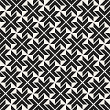 Vector Seamless Black And White Lines Pattern Abstract Background. Cross Shapes Geometric Tiling Ornament.
