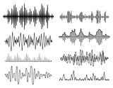 Vector sound waves set. Audio Player. Audio equalizer technology, pulse musical. Vector illustration