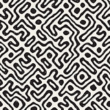 Seamless pattern with maze lines. Monochrome abstract background. Vector hand drawn labyrinth.