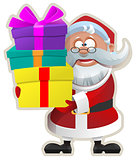 Funny Santa keeps box with gift. Christmas Sticker