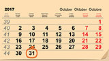 31 October 2017 Halloween. Calendar date reminder form pumpkin lantern
