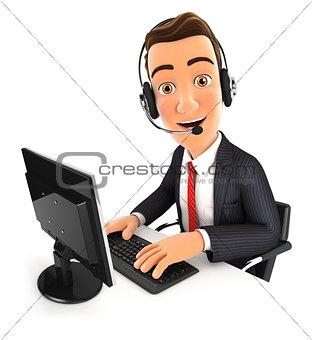 3d businessman call center