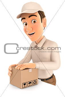3d delivery man preparing package