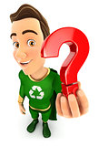 3d green hero holding a question mark icon