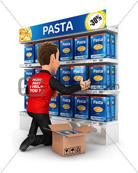 3d seller arranging packs of pasta in supermarket shelve