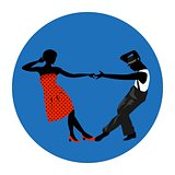 Couple man and woman dancing, vintage dance, black silhouettes and color dress up