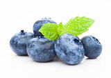 Fresh healthy organic blueberry with mint leaf