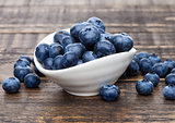 Fresh healthy organic blueberry in white bowl