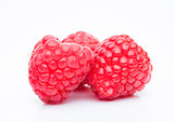 Fresh healthy red raspberries white background