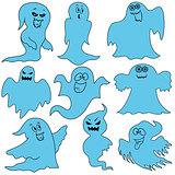 Set of nine amusing ghosts