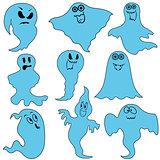 Set of nine funny ghosts