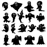 Set of eighteen flying black ghost stencils