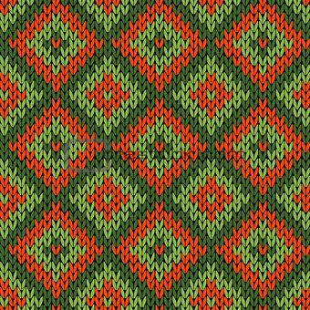 Knitted ornamental seamless pattern