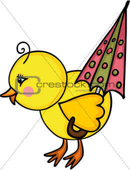 Little chick with umbrella