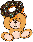 Teddy bear holding chocolate cake donut