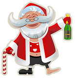 Merry Christmas. Fun Drunk Santa Claus holding bottle of champagne