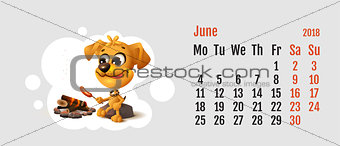 2018 year of yellow dog on Chinese calendar. Yellow fun dog fries sausage at fire stake. Calendar grid month June
