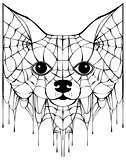 Black spiderweb silhouette head dog. Halloween accessory