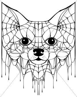 Black spiderweb silhouette head dog. Halloween accessory
