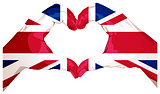 Two palms make heart shape. British flag